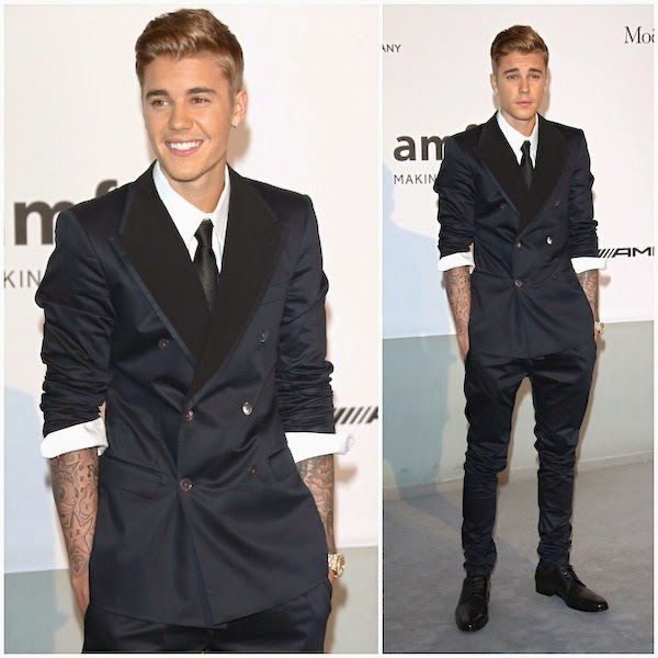 Justin Bieber in Dolce & Gabbana double breasted tuxedo Spring Summer 2014 at amfAR Gala Cannes 2014