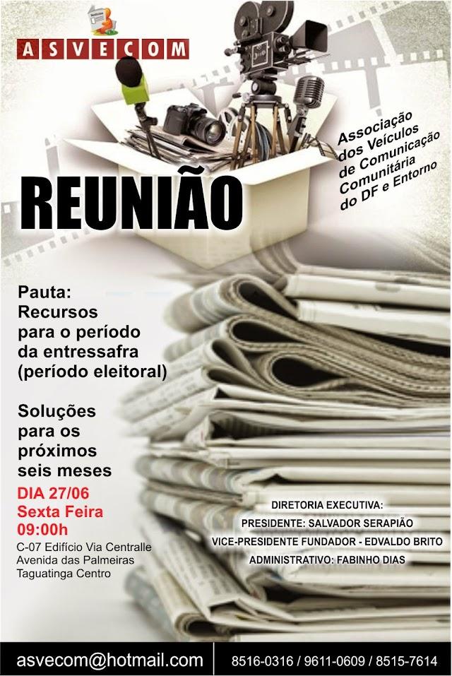 REUNIÃO ASVECOM SEXTA FEIRA 27 DE JUNHO AS 9:00