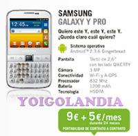 samsung galaxy y pro 9 euros pago unico yoigo febrero 2013