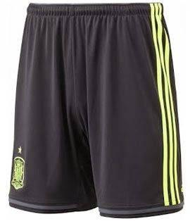 pantalón corto selección española negro y amarillo segunda equipación