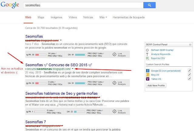 Seomoñas en los resultados de búsqueda de Google
