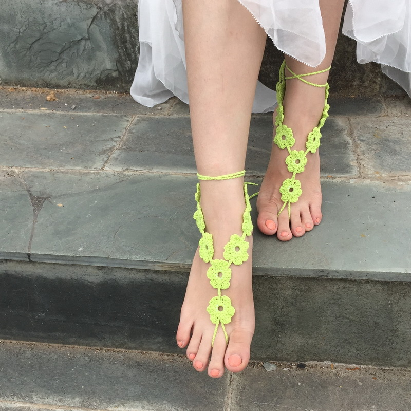 Free shipping fashion women leg bracelets foot chains feet jewelry cotton crochet barefoot sandals female wedding