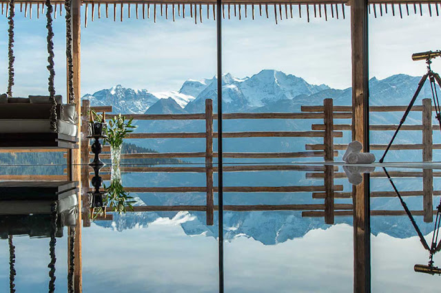 Picture of Swiss Alps from the swimming pool