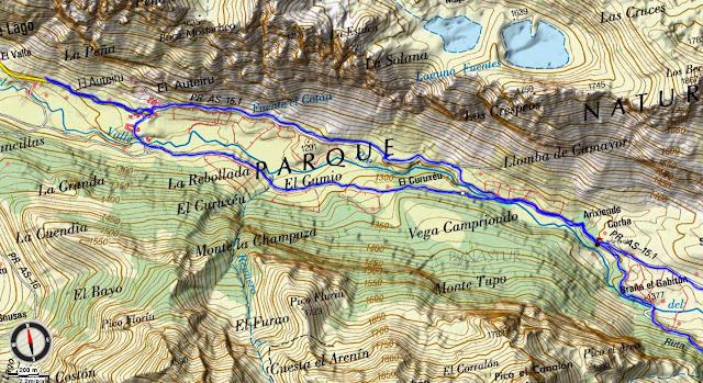 Mapa Topográfico 1 Ruta Valle del Lago