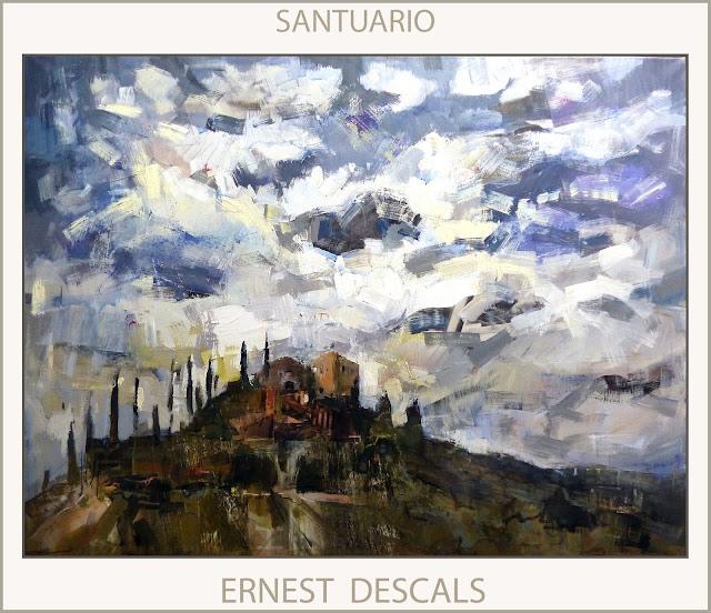 SANTUARIO-PINTURA-PAISAJES-SANTUARIOS-ESPAÑA-CUADROS-MISTICA-CIELO-NUBES-PINTOR-ERNEST DESCALS-
