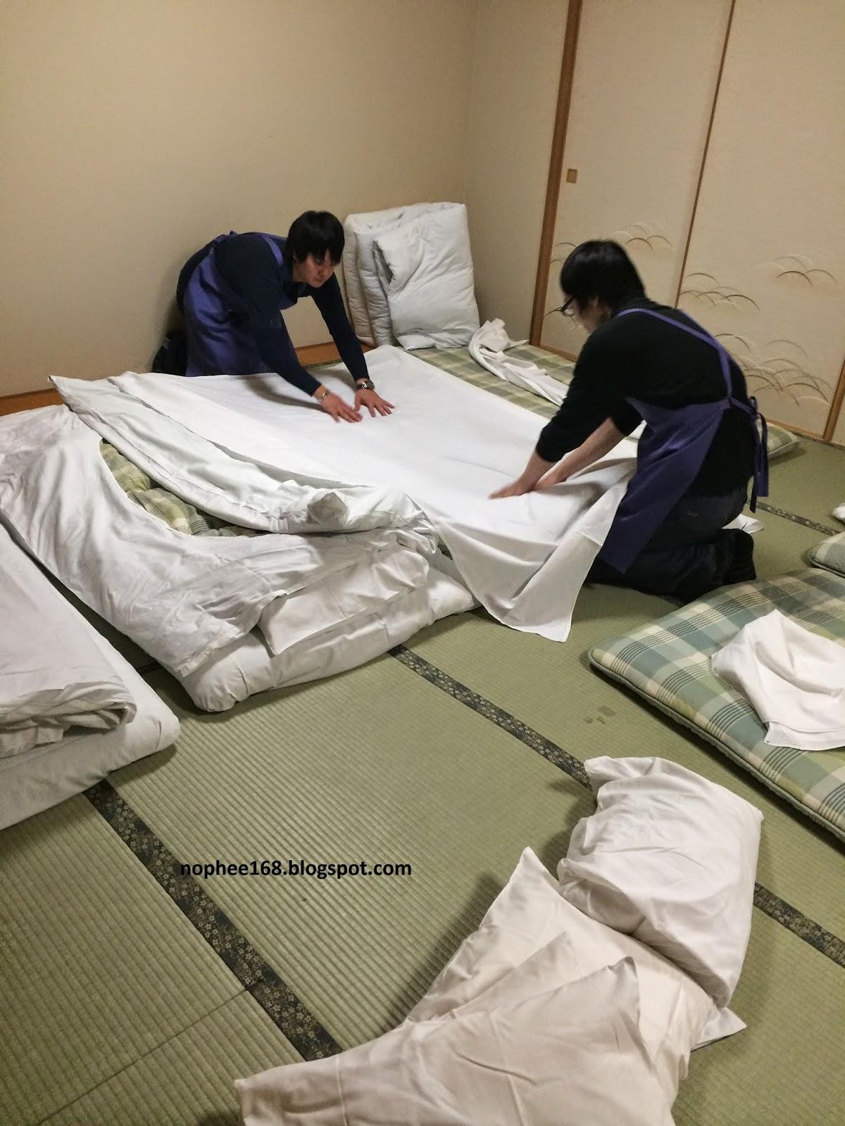 Japanese style bed at Yumoto Noboribetsu Hokkaido