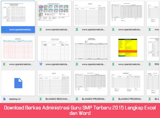 Download Berkas Administrasi Guru SMP Terbaru 2015 Lengkap Excel dan Word