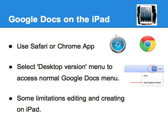 Learning and teaching with ipads google docs and mobile for Google docs app desktop