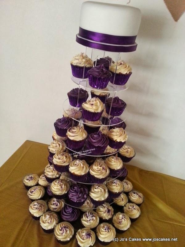 Jos Cakes Cadburys Purple And Ivory Cupcake Tower