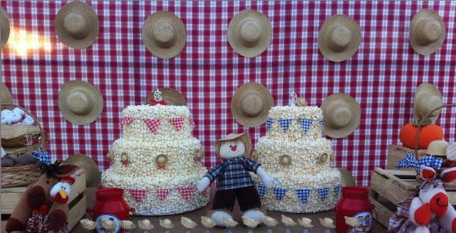 decoração festa junina - bolo de pipoca