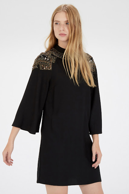 black gold cape dress, gold detail cape dress,