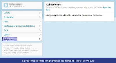 Opciones de configuración de aplicaciones en Twitter