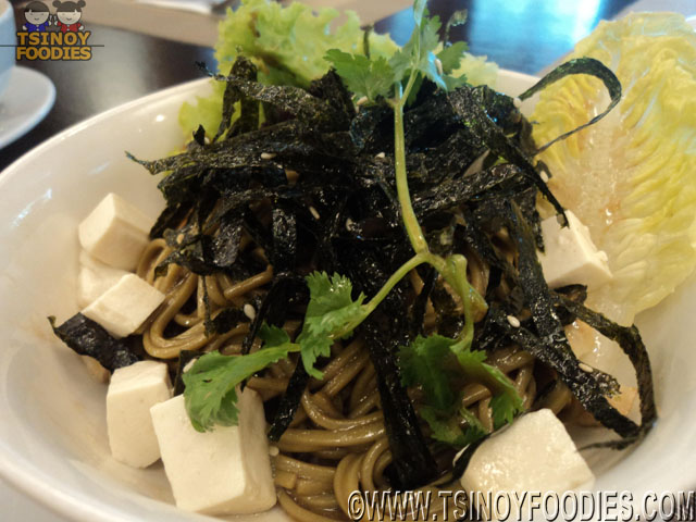 green tea noodles salad with soft tofu and soy vinaigrette
