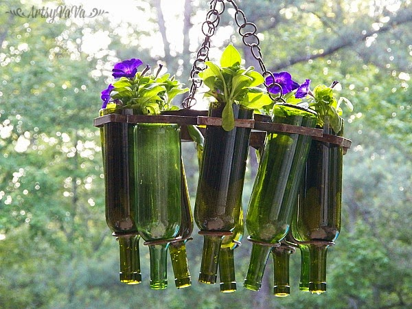 Artsy vava the days of wine petunias for Outdoor decorating with wine bottles