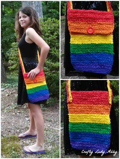 Free Crochet Pattern For Cross Body Bag : BAG DIY: Rainbow Crocheted OlyFun Crossbody Bag