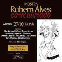"""""""Rubem Alves Caricaturado""""- Curador e participante- Café Bistrô Rubem Alves- Campinas, SP (2015)"""