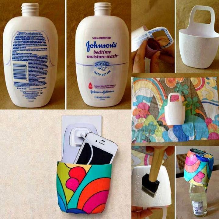 Porta celular con envase plástico reciclado