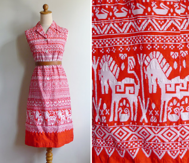 vintage horse swan print dress