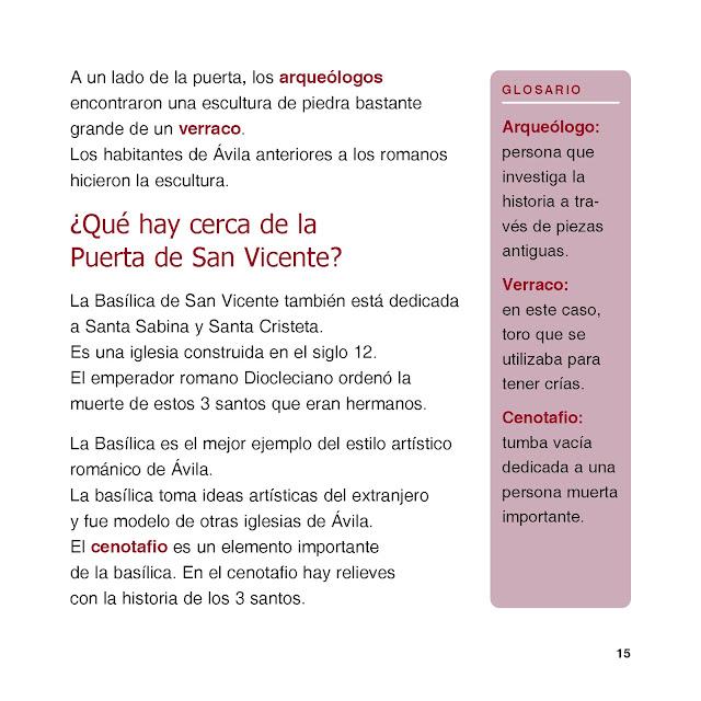 Glosario en el margen derecho con fondo rosa. Texto explicativo general con los títulos en mayor tamaño, letra minúscula y color diferenciado. Las palabras del glosario aparecen reseñadas con otro color dentro del texto general.