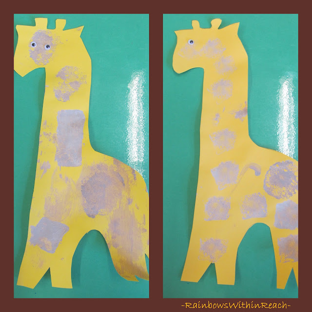 photo of: simple giraffe painting for preschool, zoo projects for children
