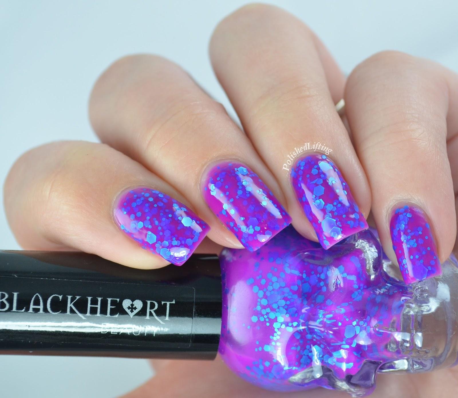 Polished Lifting: Black Heart Beauty Violet & Blue Glitter Nail Polish