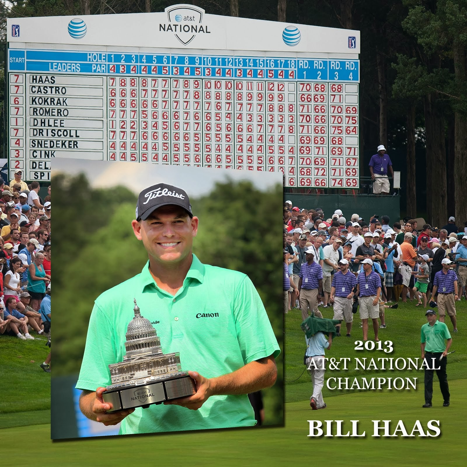 Bill Haas taking the walk down 18 to get the trophy!