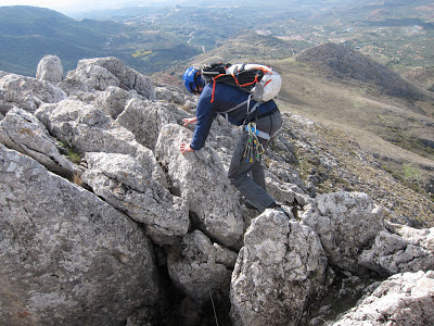 Scrambling on Penon de la Mata in Spain