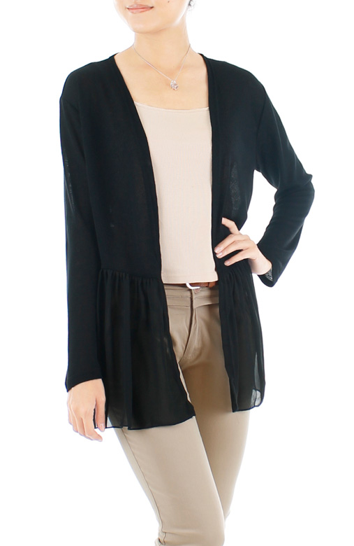 Chiffon Dreams Fine Knit Cardi – Classic Black
