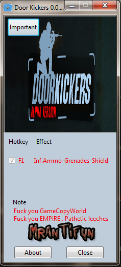 Door Kickers 0.0.80 Trainer +3 MrAntiFun