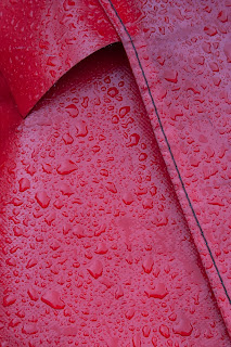 raindrops on red canvas