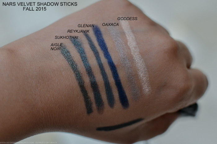 NARS Private Screening Fall 2015 Makeup Collection Swatches Velvet Shadow Sticks Aigle Noir Sukhothai Reykjavik Glenan Oaxaca Goddess