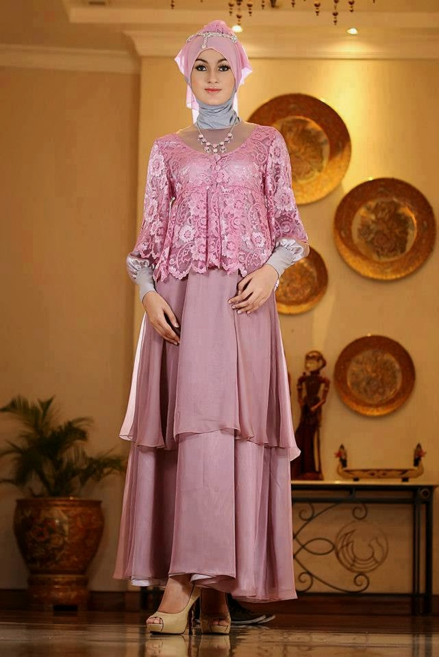 Model Kebaya Brokat Muslim Modern Terbaru 2014