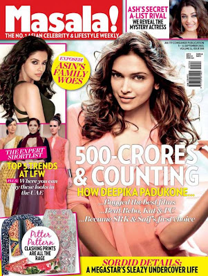 Deepika Padukone graces the cover page of Masala! September 2013