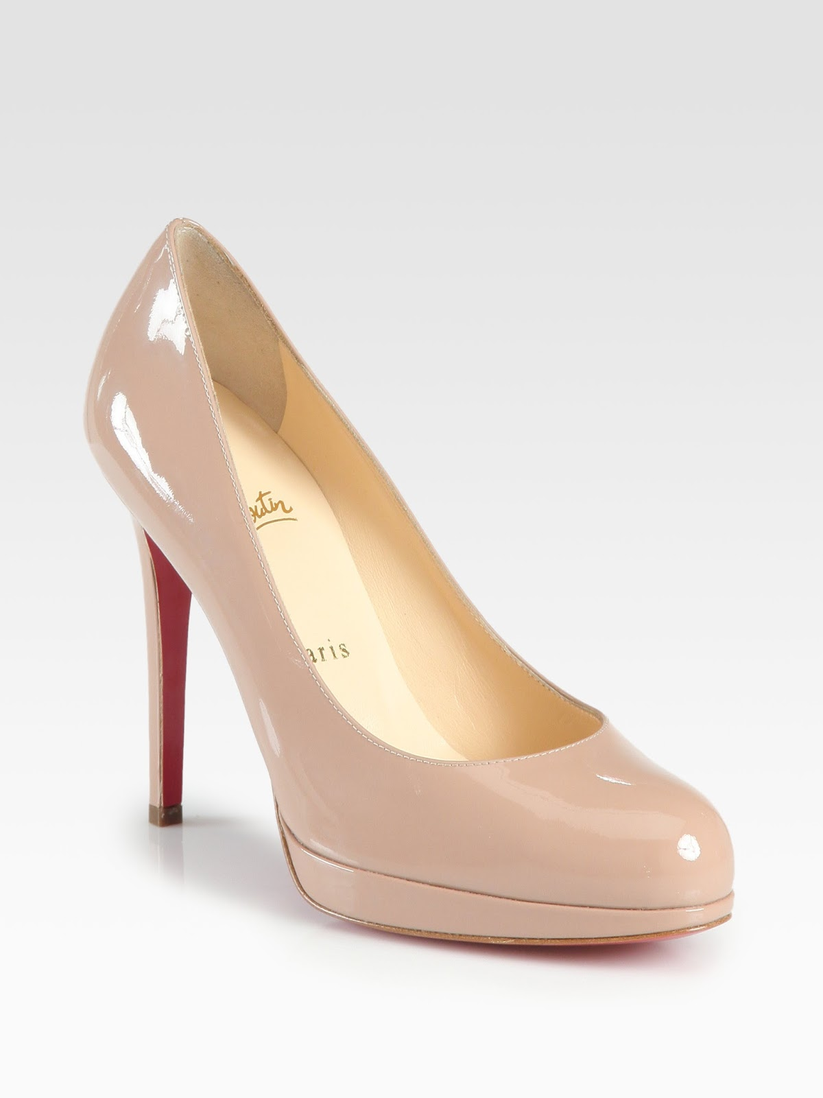 CHRISTIAN LOUBOUTIN NEW SIMPLE PUMP 120MM NUDE PATENT - Reed ...