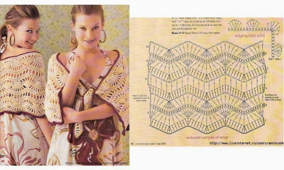 Chal tejido al crochet - con patrones