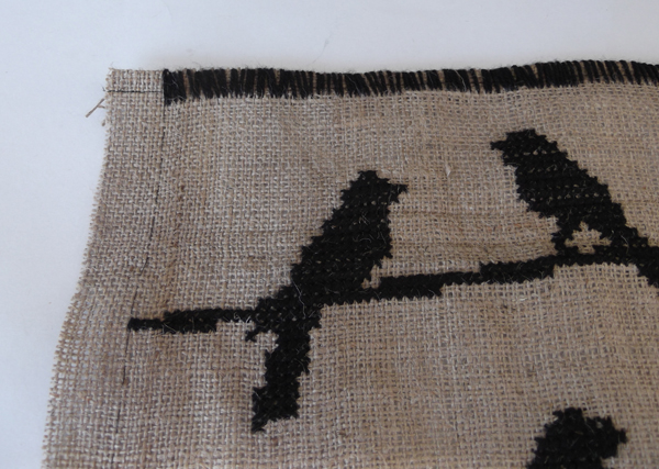 cross stitch on burlap fabric