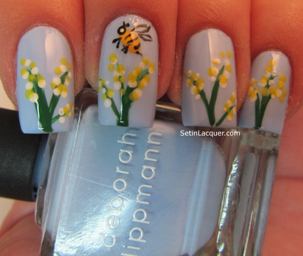 Flowers and bee nail art
