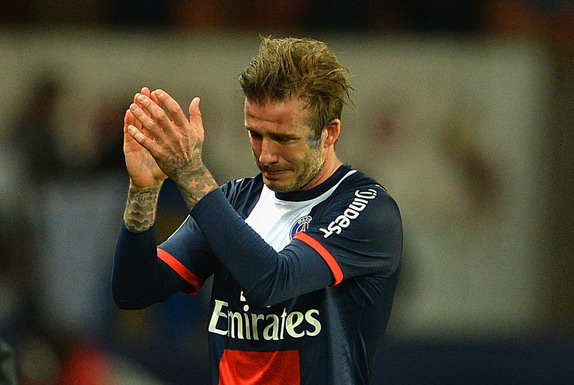 David Beckham breaks down in tears as he leaves the pitch after being substituted