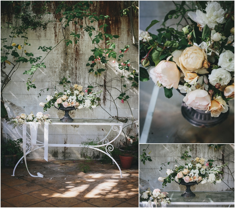 Floral arrangements in orangery
