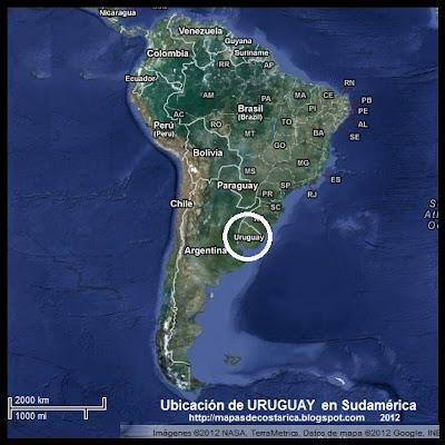 Ubicación de URUGUAY en Sudamérica, Vista Satelital