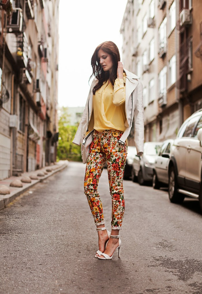 Yellow Blouse And Orange Floral Pants Tie Bow Tie