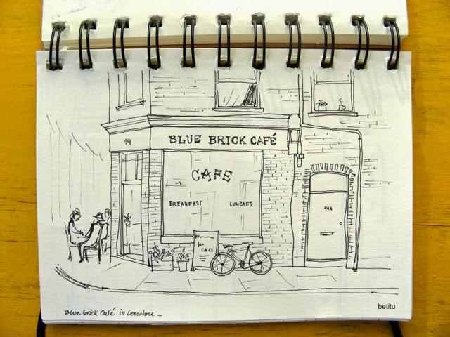 Blue Brick Café in London - illustration by betitu
