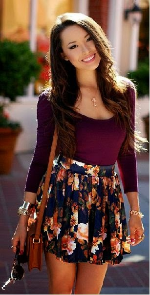Summer casual style with floral skirt