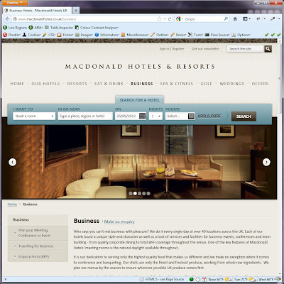 Screen shot of http://www.macdonaldhotels.co.uk/business/.