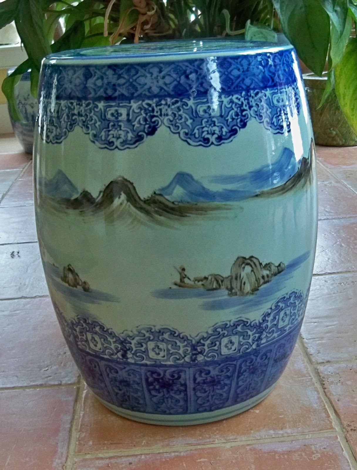 Hand Painted Blue And White Japanese, Garden Seat 17 Inches High