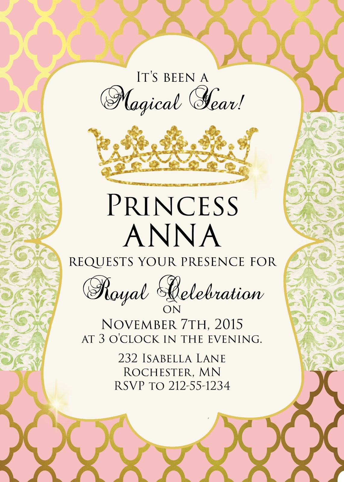 sugar and spice invitations pink and gold princess party