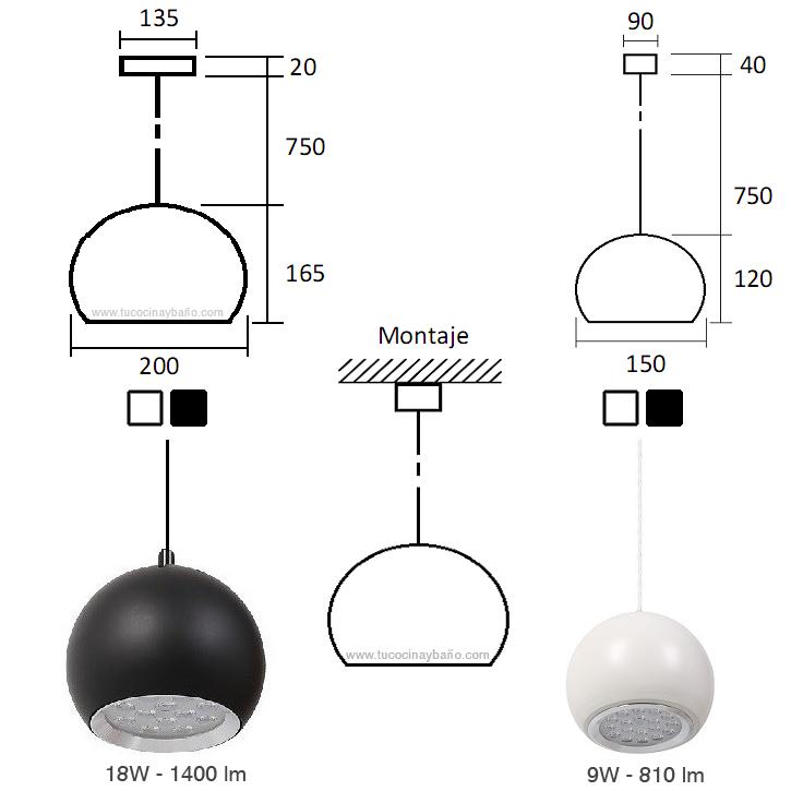Lampara cocina led suspension tu cocina y ba o - Modelos de lamparas para cocina ...