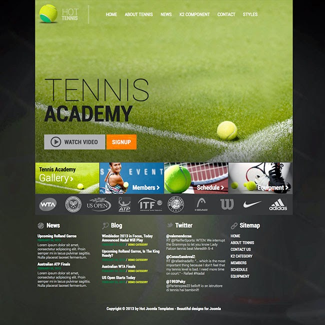 Hot Tennis - Joomla Tennis Template