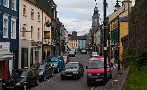Traffic congestion in High Street, Tuam,County Galway - a typical small town in Ireland
