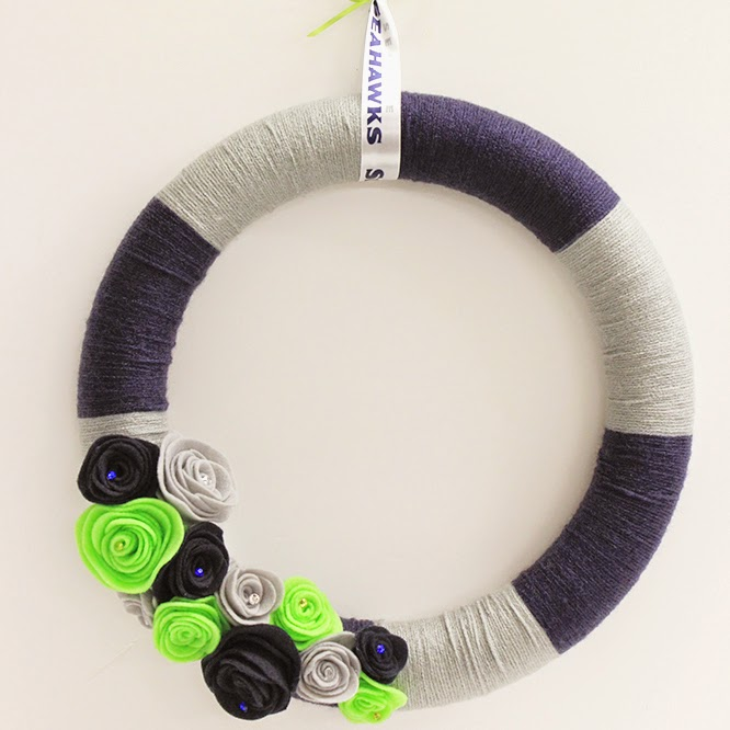 DIY Seahawks Inspired Yarn-Wrapped Wreath